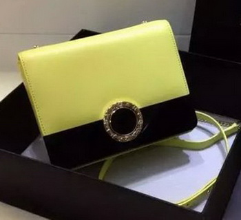 BVLGARI Flap Shoulder Bag Original Leather BG30960 Yellow