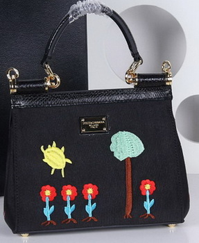 Dolce & Gabbana SICILY Bag Family Patch BB4120 Black