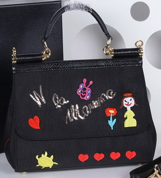 Dolce & Gabbana SICILY Bag Family Patch BB4130 Black