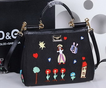 Dolce & Gabbana SICILY Bag Family Patch BB4136 Black