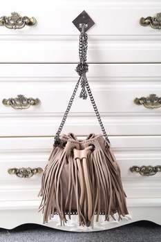 Stella McCartney Falabella Sun Fringed Bucket Bag SMC012 Khaki