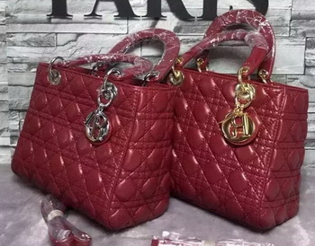 Dior Small Lady Dior Bag Sheepskin Leather CD6322 Burgundy