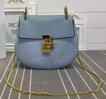 CHLOE Large Drew Shoulder Bags Original Suede Leather CL5599L SkyBlue