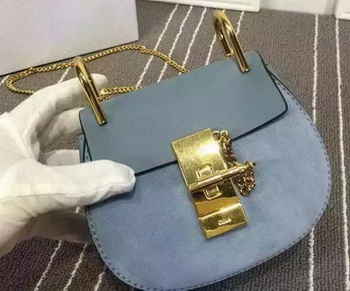 CHLOE Small Drew Shoulder Bags Original Suede Leather CL5599S SkyBlue