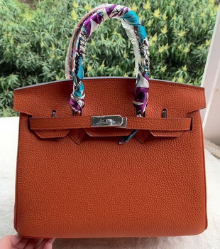 Hermes Birkin 30CM Tote Bags Orange Calfskin Leather BK30 Silver