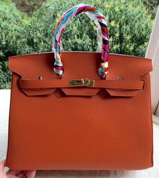 Hermes Birkin 35CM Tote Bag Orange Calfskin Leather BK35 Gold