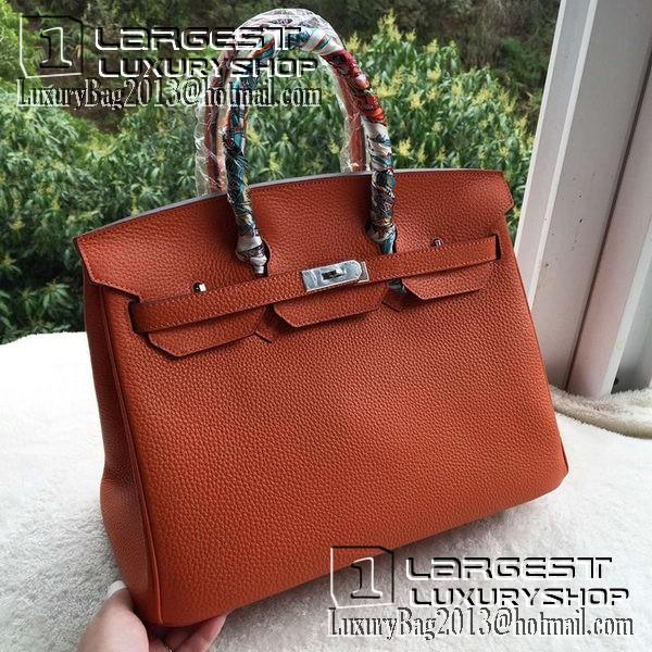 Hermes Birkin 35CM Tote Bag Orange Calfskin Leather BK35 Silver ... 3ebad6eb0932b