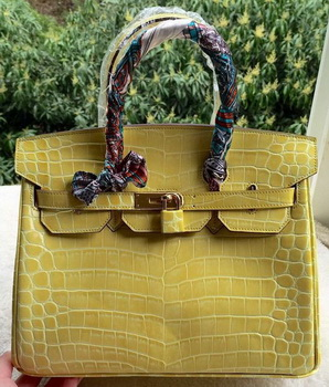 Hermes Birkin 25CM Tote Bag Croco Leather H25TCO Yellow