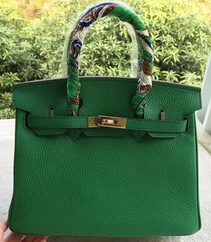 Hermes Birkin 30CM Tote Bags Green Calfskin Leather BK30 Gold