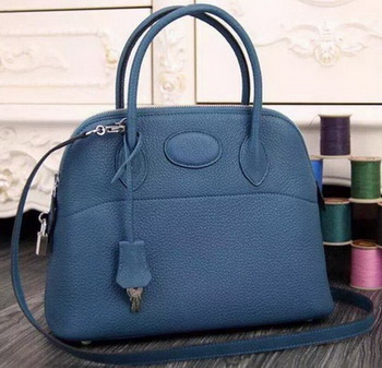 Hermes Bolide 37CM Calfskin Leather Tote Bag B1004 Blue