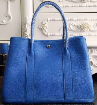 Hermes Garden Party 36cm 30cm Tote Bag Original Leather Blue