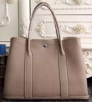 Hermes Garden Party 36cm 30cm Tote Bag Original Leather Light Grey