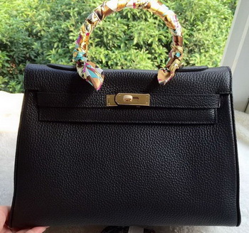 Hermes Kelly 32cm Shoulder Bag Black Calfskin Leather K32CL Gold