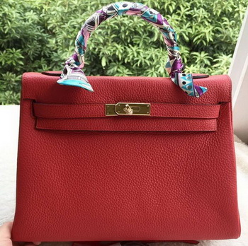 Hermes Kelly 32cm Shoulder Bag Red Calfskin Leather K32CL Gold