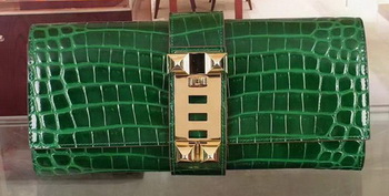 Hermes Croco Leather Clutch H88017 Green