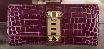 Hermes Croco Leather Clutch H88017 Purple