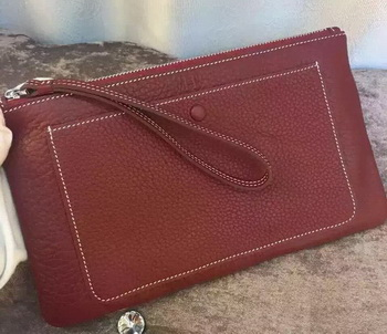Hermes Grainy Leather Clutch H88016 Burgundy