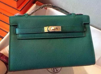 Hermes MINI Kelly 22cm Tote Bag Calfskin Leather K22 Dark Green