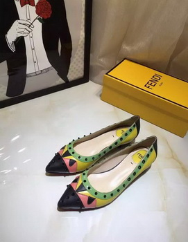 Fendi Leather Ballerina FD125 Green