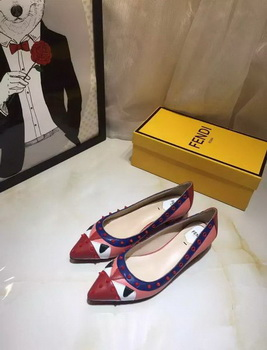 Fendi Leather Ballerina FD125 Red