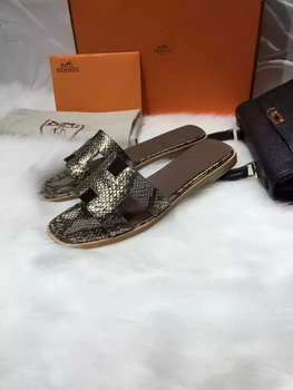 Hermes Slippers Leather HO663 Gold
