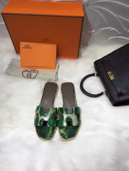 Hermes Slippers Leather HO663 Green