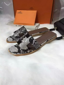 Hermes Slippers Leather HO663 Grey