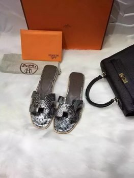 Hermes Slippers Leather HO663 Silver