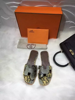 Hermes Slippers Leather HO663 Yellow