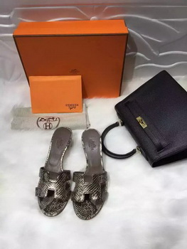Hermes Slippers Leather HO669 Gold