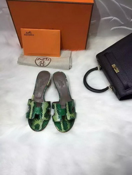 Hermes Slippers Leather HO669 Green