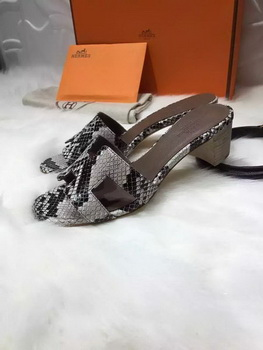 Hermes Slippers Leather HO669 Grey