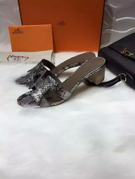 Hermes Slippers Leather HO669 Silver