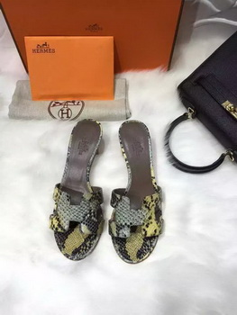 Hermes Slippers Leather HO669 Yellow