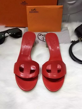 Hermes Slippers Leather HO681 Red