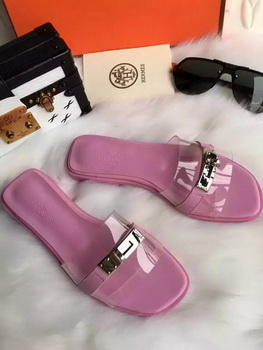 Hermes Slippers Leather HO687 Pink