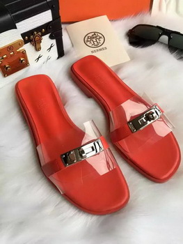 Hermes Slippers Leather HO687 Red