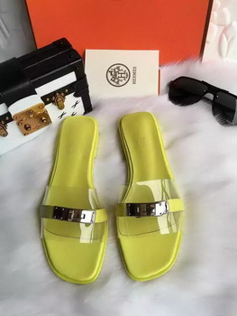 Hermes Slippers Leather HO687 Yellow