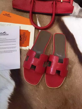 Hermes Slippers Leather HO695 Red
