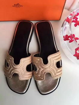Hermes Slippers Leather HO698 Gold