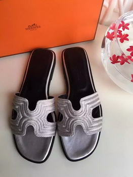 Hermes Slippers Leather HO698 Grey