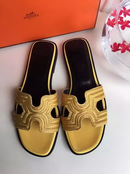 Hermes Slippers Leather HO698 Yellow