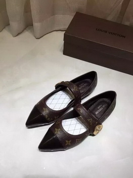 Louis Vuitton Leather Flat LV664 Brown