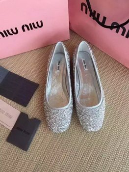 miu miu Ballerina Leather MM437 Silver