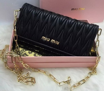 miu miu Matelasse Nappa Leather Clutch 5B6163 Black