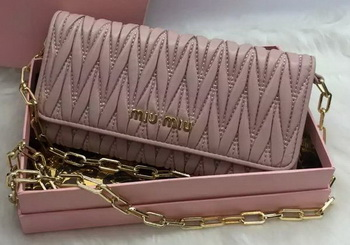 miu miu Matelasse Nappa Leather Clutch 5B6163 Pink