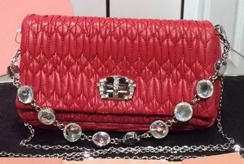 miu miu Matelasse Nappa Leather Shoulder Bag 5B005 Red