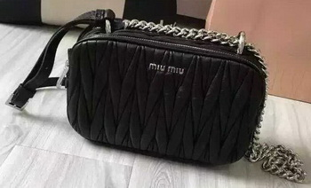 miu miu Matelasse Nappa Leather Shoulder Bag 5BH029 Black