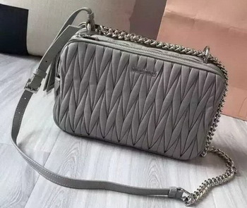 miu miu Matelasse Nappa Leather Shoulder Bag 5BH032 Grey