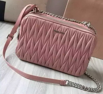 miu miu Matelasse Nappa Leather Shoulder Bag 5BH032 Pink